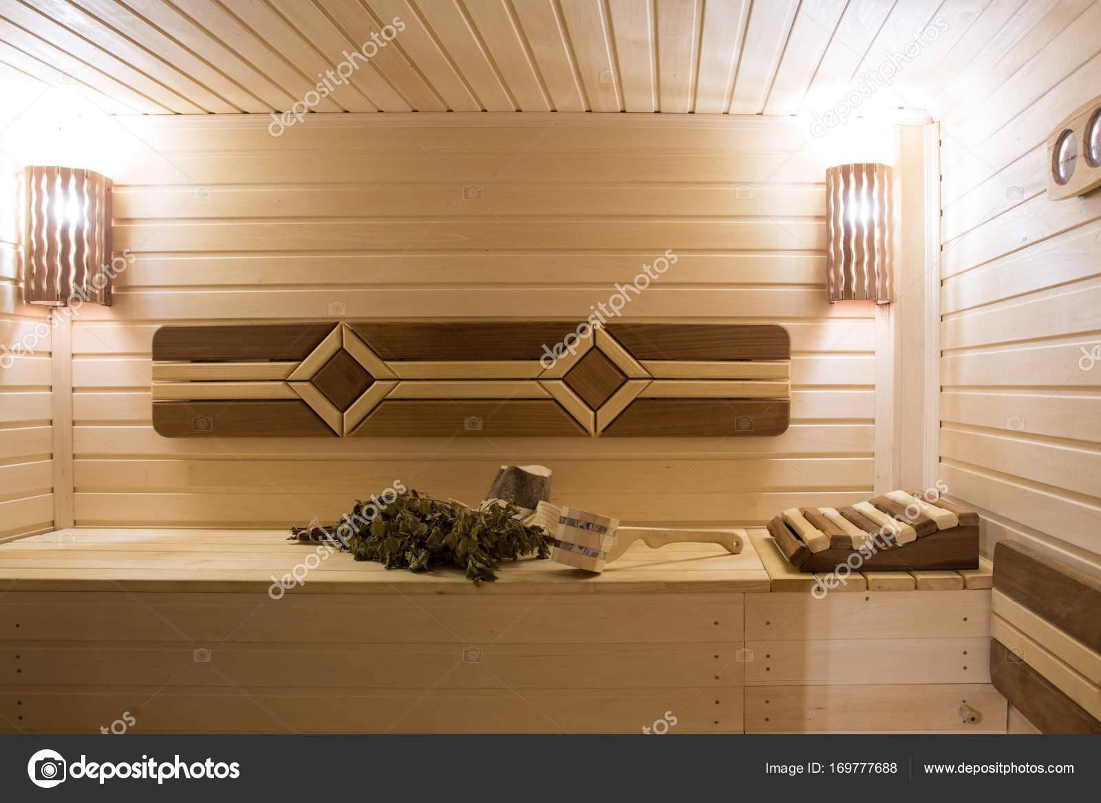 interieur van de sauna verlichting en sfeer stockfoto