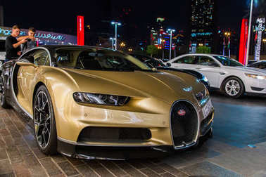 Dubai, UAE February 14, 2018: Bugatti chiron in the parking lotin the parking lot
