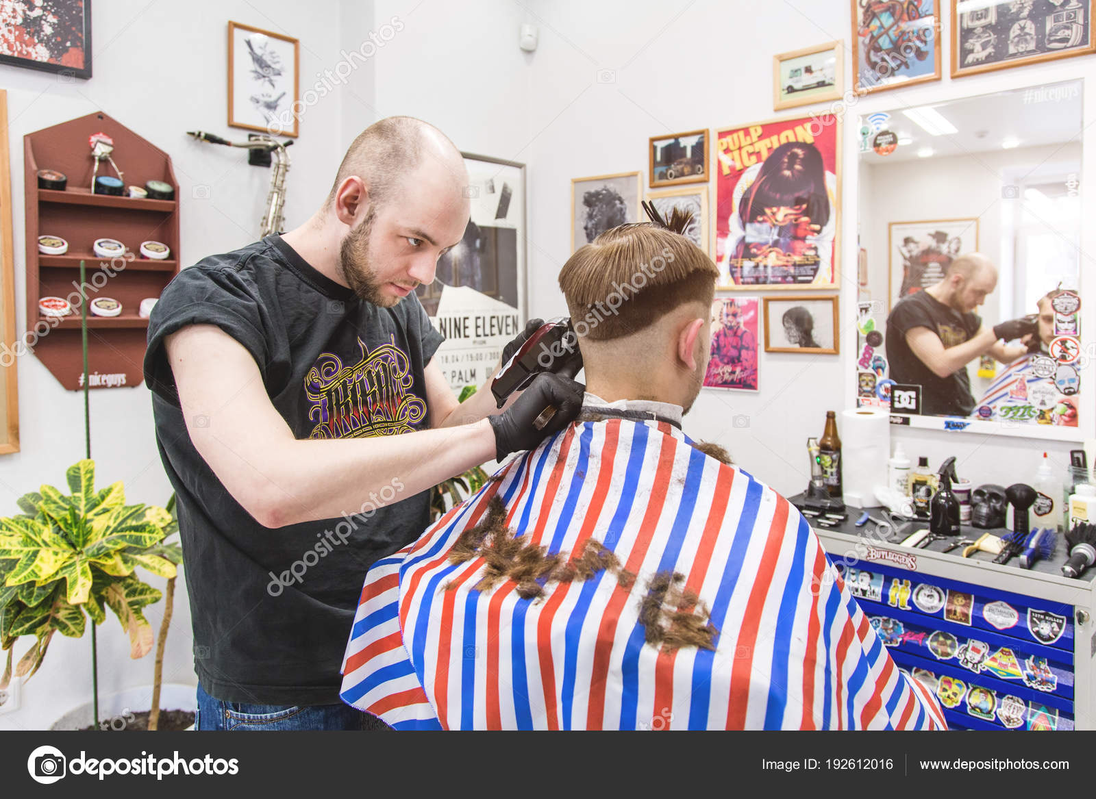 Ufa Russia April 2018 Men Haircut Barbershop Master Barber Does