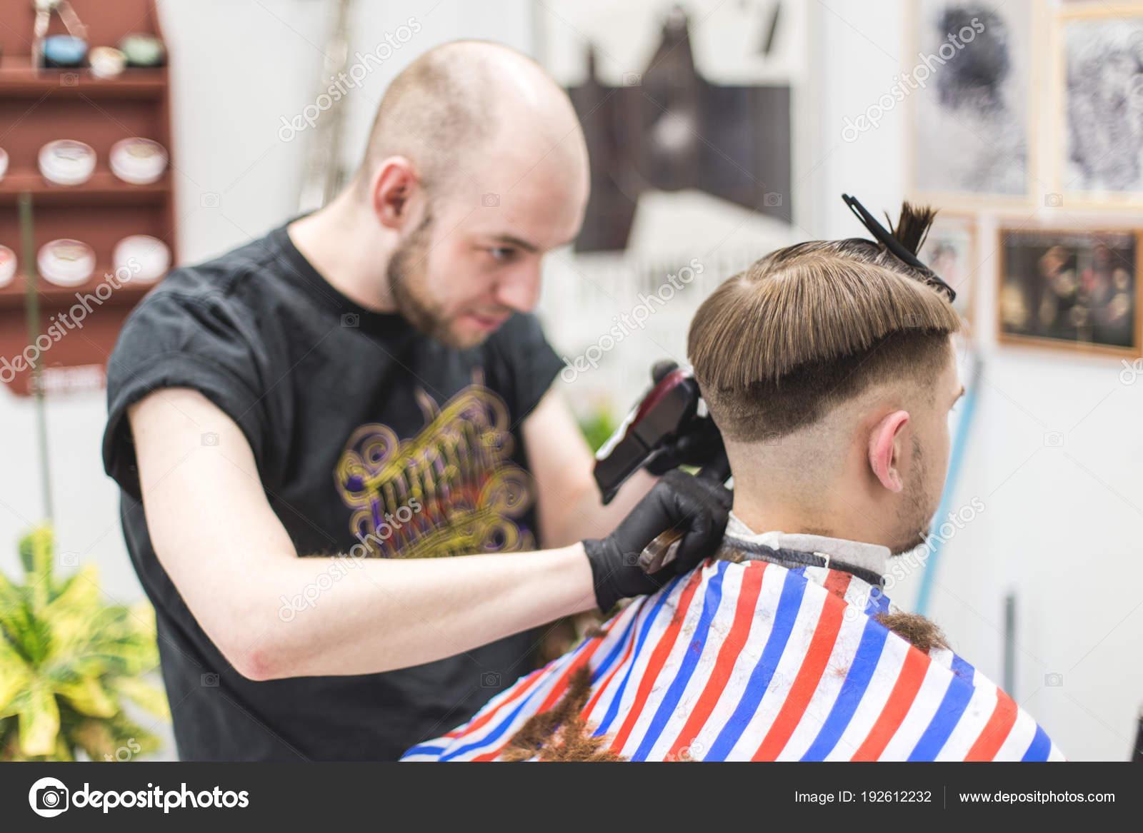 Men Haircut Barbershop Master Barber Does Haircut Client Work