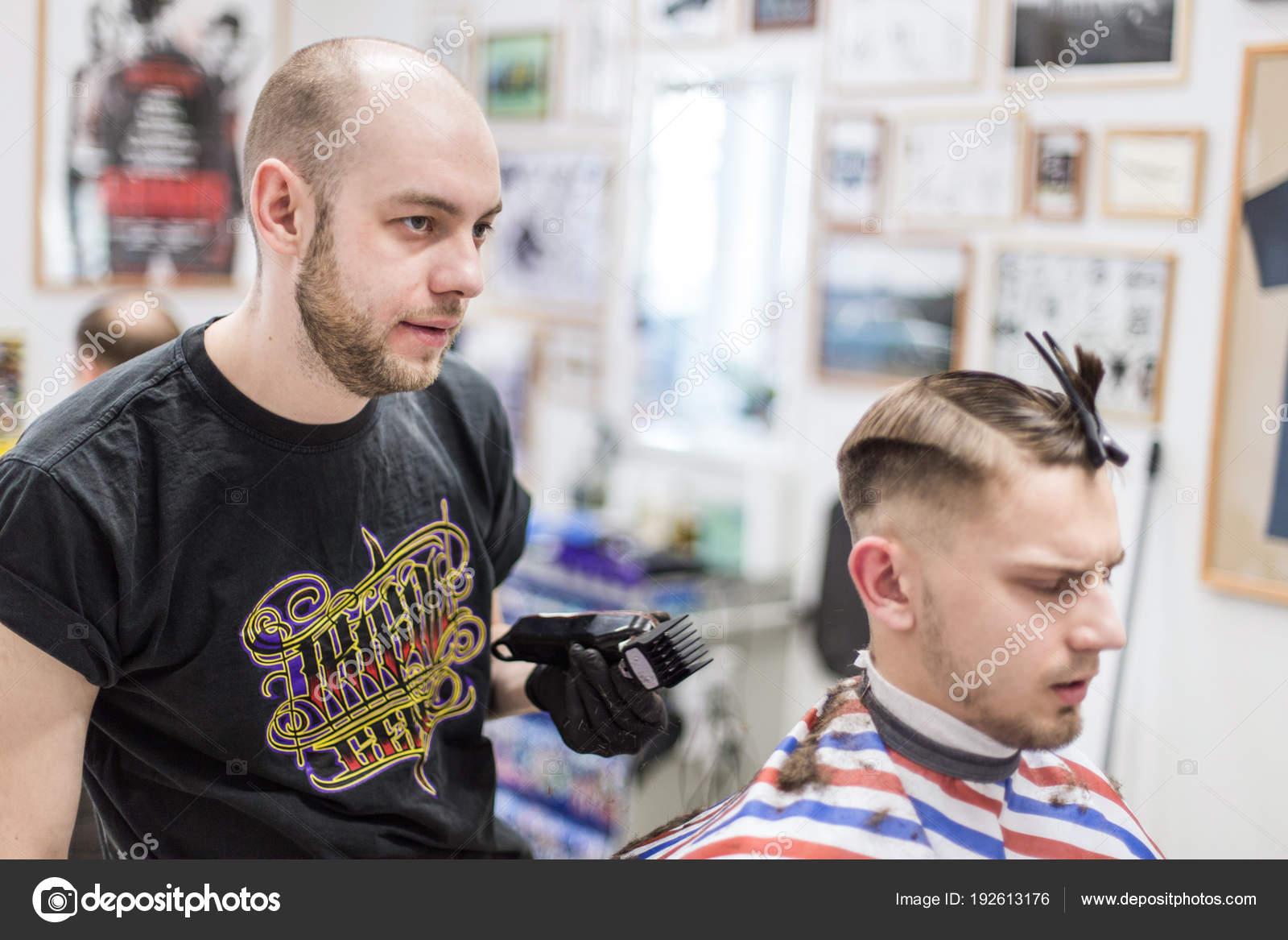 Ufa Russia April 2018 Men Haircut Barbershop Master Barber Does