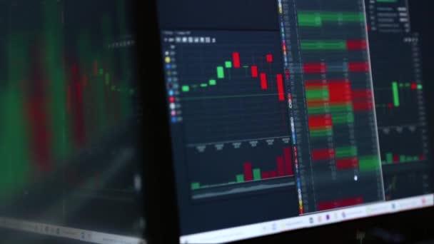 Obchodování na internetu. Grafy, indexy a čísla na více počítačových obrazovkách. Koncept obchodního úspěchu.