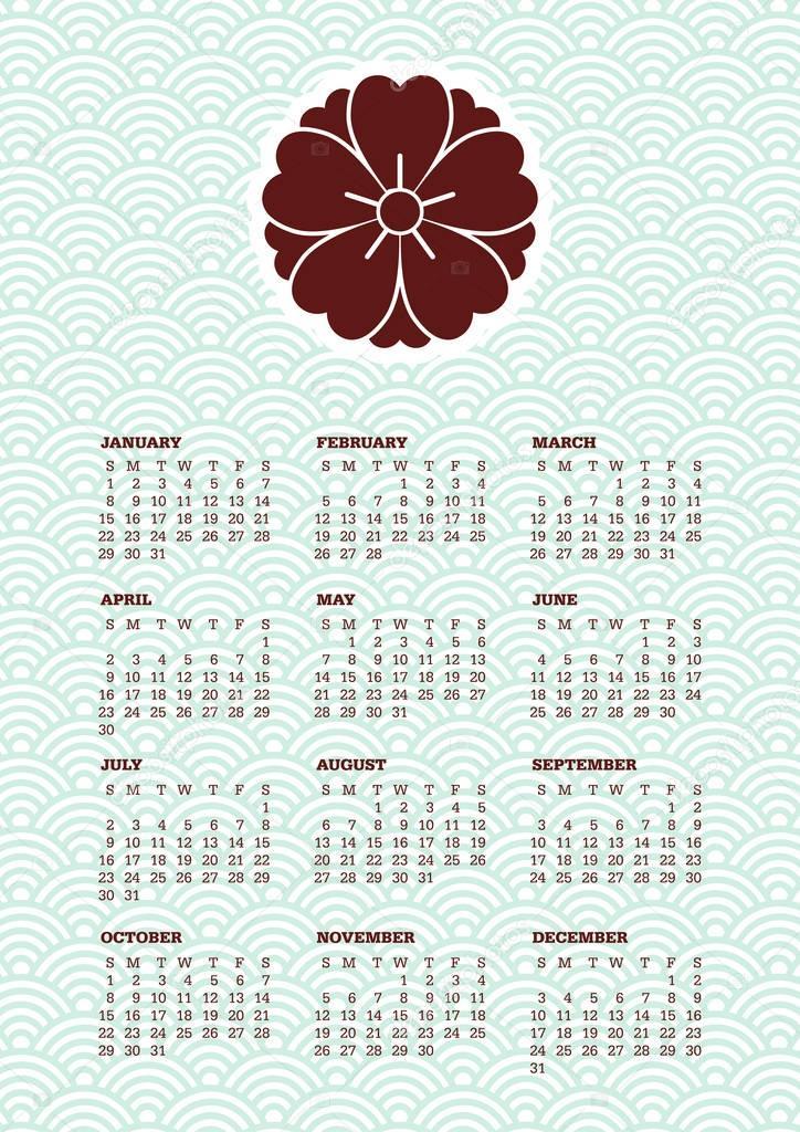 Japanese Calendar Design : Ιαπωνικά στυλ ημερολογίου — Διανυσματικό Αρχείο