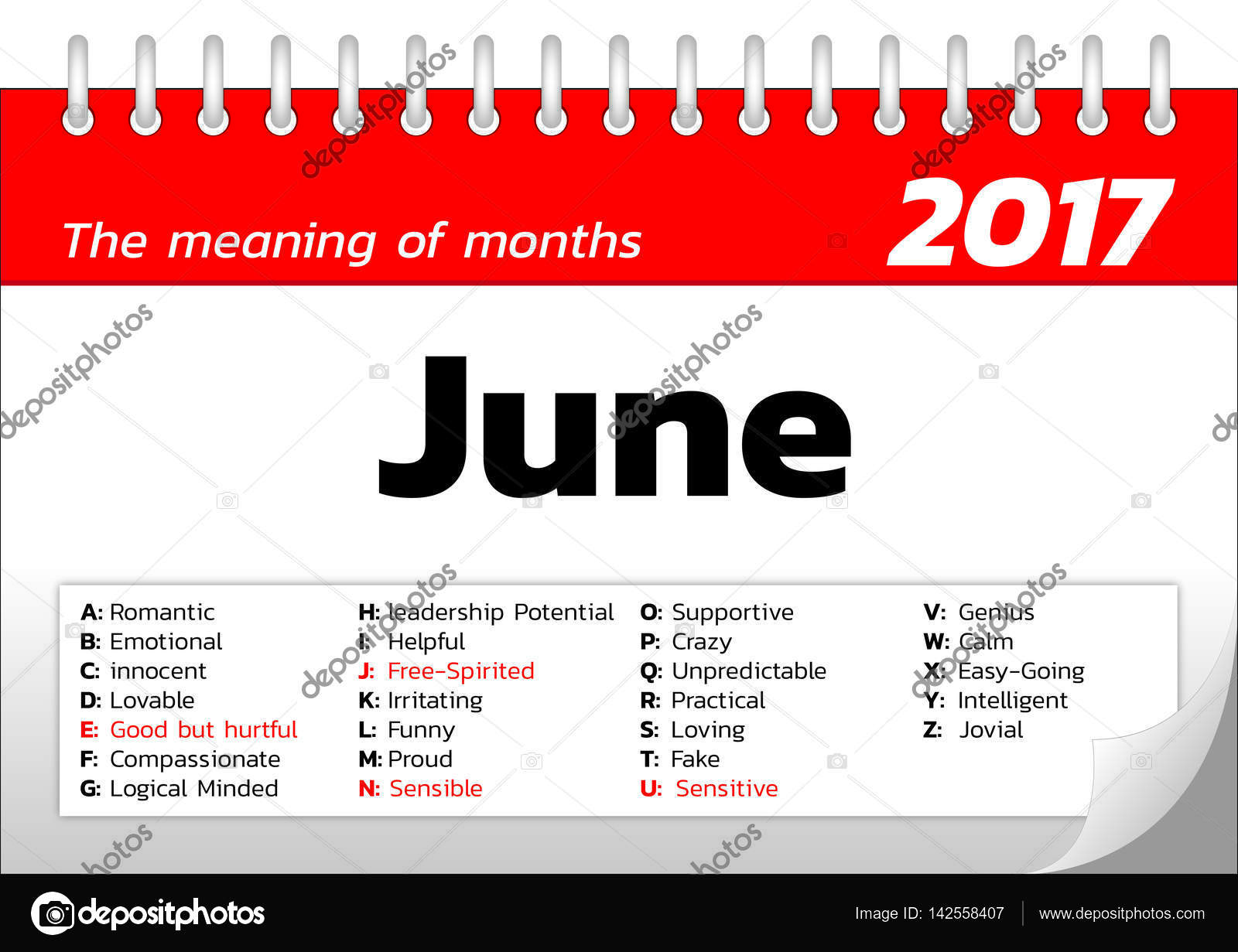 die Bedeutung der Monate Kalendervorlage — Stockvektor © ztu ...