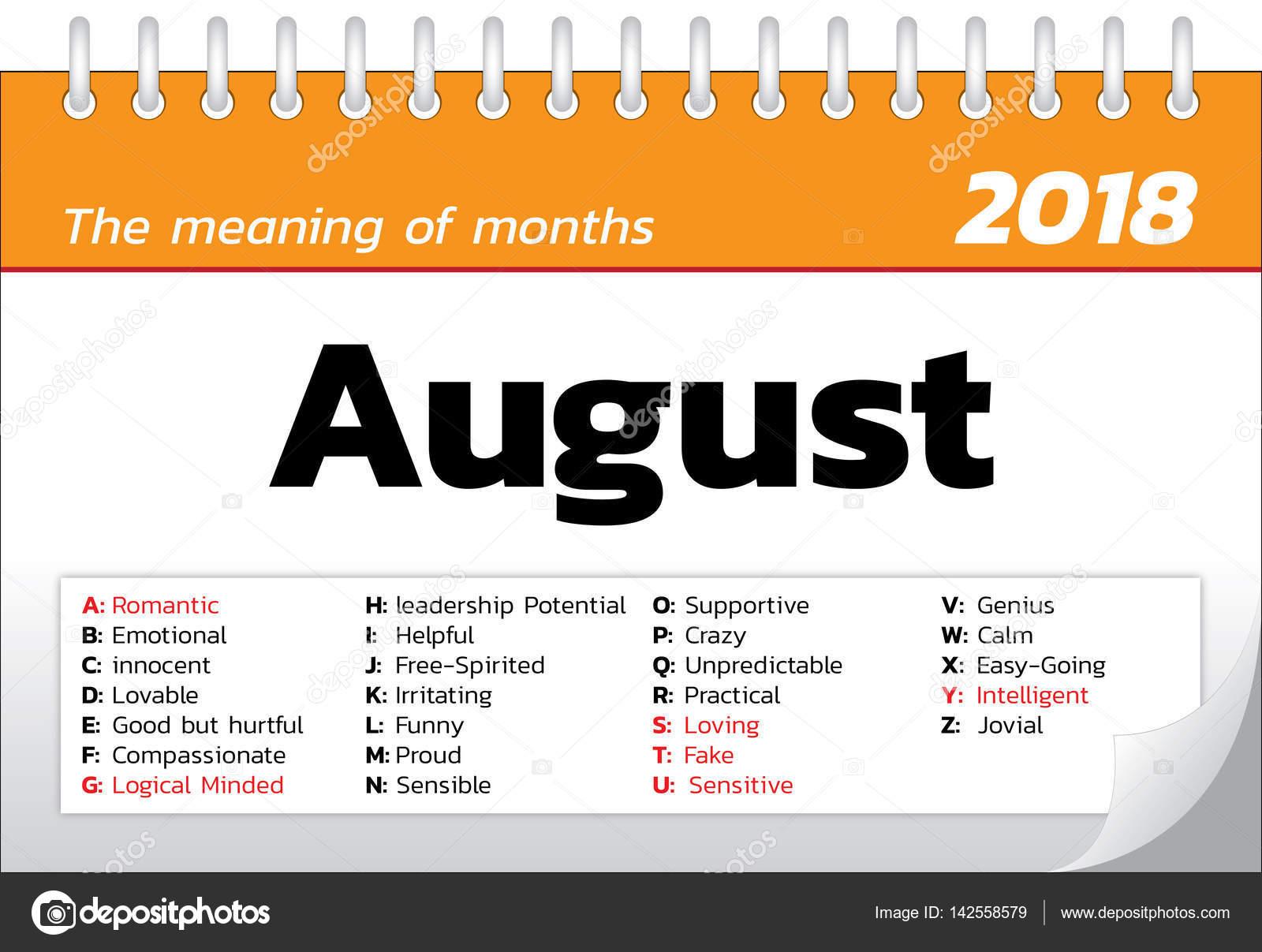 the meaning of months calendar template stock vector ztu