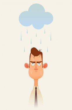 Grumpy Man Standing Under the Rainy Cloud