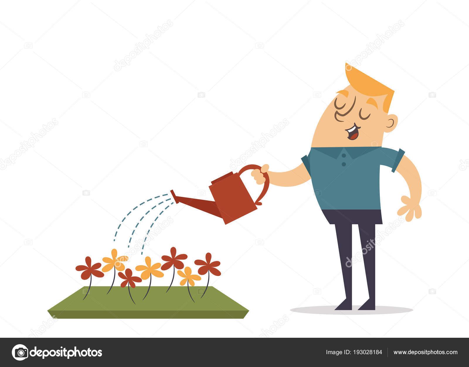 Mann Die Blumen Giessen Stockvektor C Stickerama 193028184