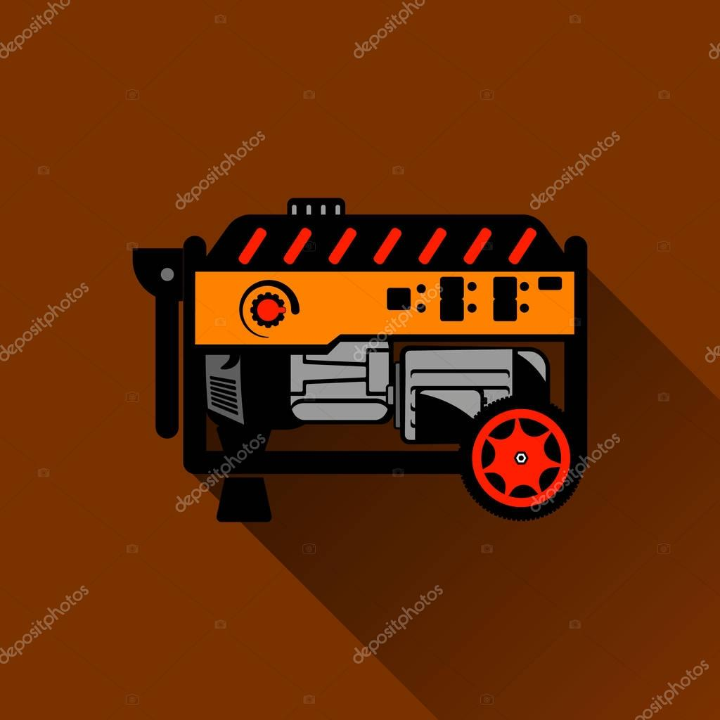 Gasoline generator Flat illustration