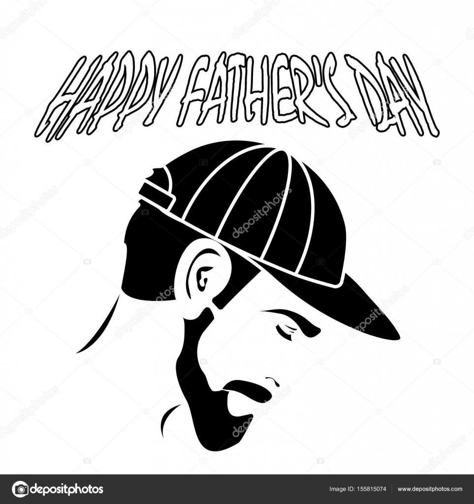 e4aad00a0c65f Un hombre con una barba en su gorra. día de padre feliz — Archivo Imágenes