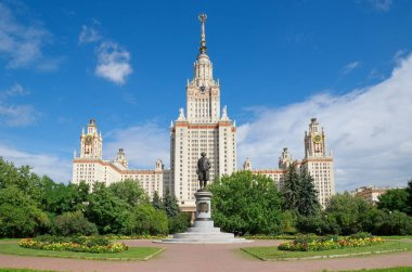 Beautiful view of the main building of Moscow state University or MSU