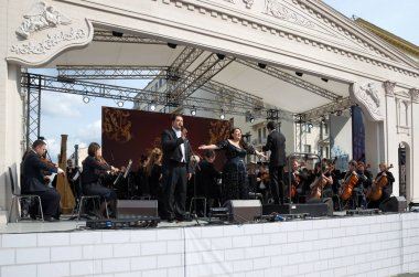 The performance of Opera singers in the street in the center of Moscow, Russia