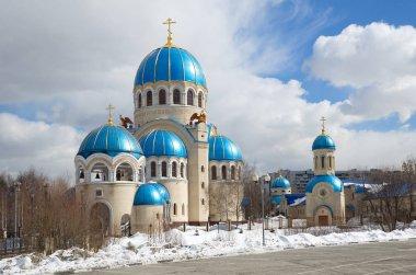 Temple Trinity Life-giving on Borisov Ponds in Moscow. Church in Orekhovo-Borisovo, Russia
