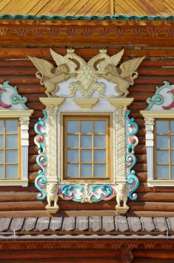 Decorative window in the Palace of Tsar Alexei Mikhailovich in Kolomenskoye Park, Moscow, Russia