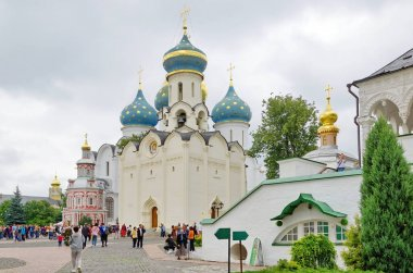 Sergiev Posad, Russia - July 24, 2019: Churches of the Holy Trinity Sergius Lavra. Golden ring of Russia