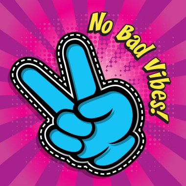 Victory gesture. Hand victory sign. Two fingers up. Victory sign. Victory celebrating. Pop Art comics icon