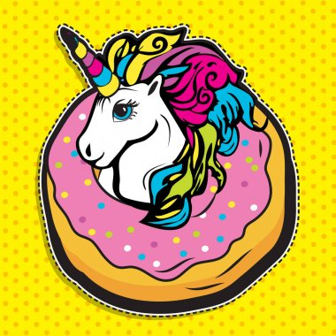 Pop art fashion magic UNICORN IN DONUT