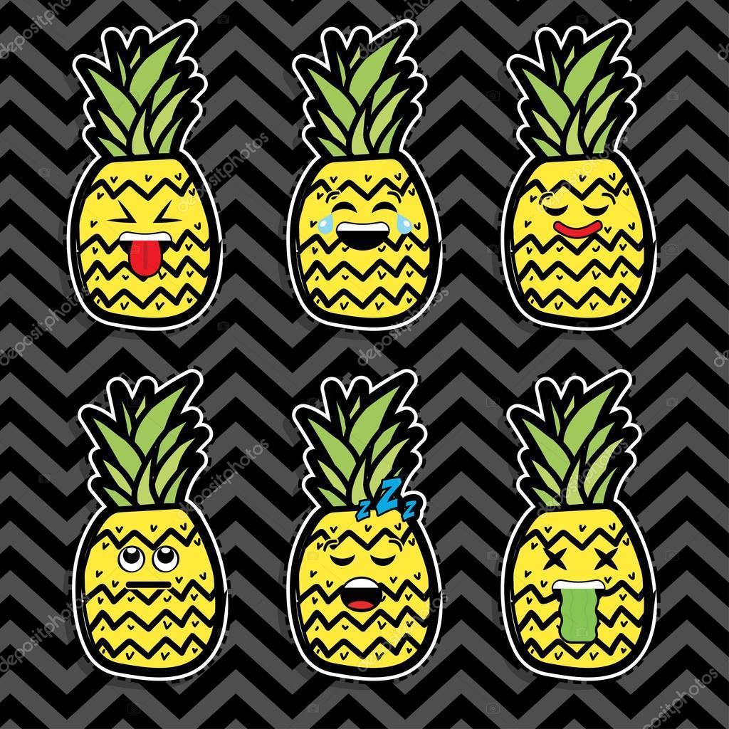 Pop art fashion PINEAPPLE EMOJI stickers.