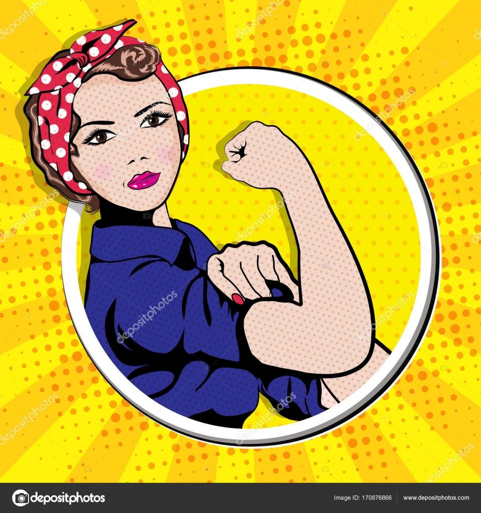 d5c62b8f2884e Símbolo do poder feminino e da indústria. mulher de desenhos animados com  pode fazer a atitude — Vetor de ...