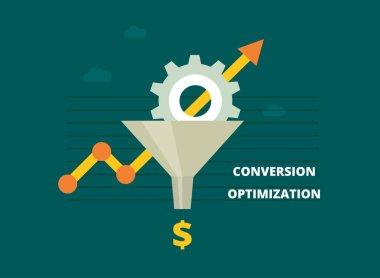 Conversion optimization banner in flat style - vector illustration. Internet marketing concept with Sales Funnel and growth chart.