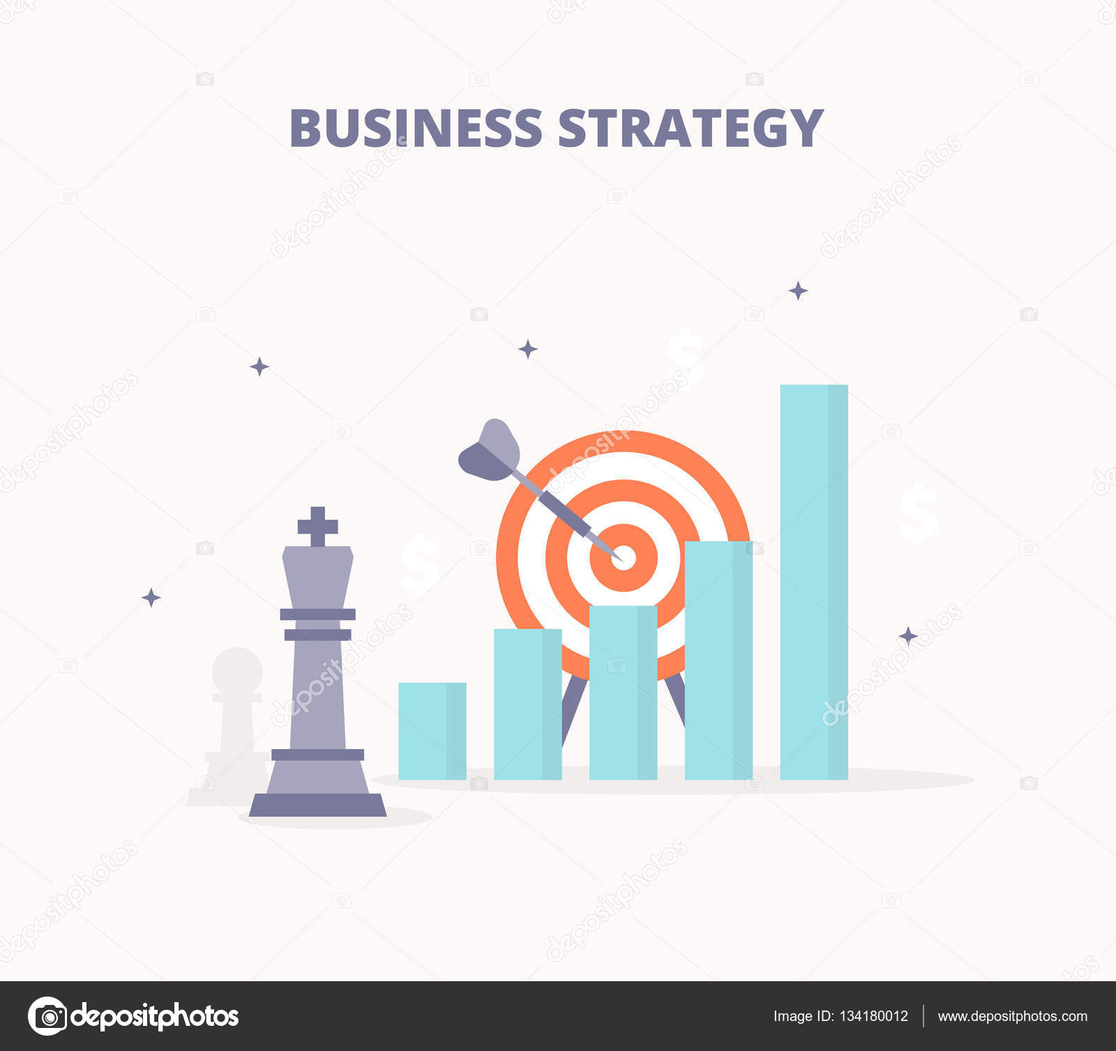 Business strategy chess king target bar chart arrow icons set chess king bar chart growth arrow target icons set flat design concept for web banners web sites printed materials infographics geenschuldenfo Images