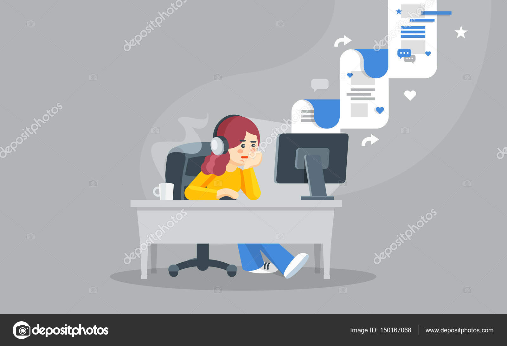 internet surfing concept flat vector illustration girl sitting at