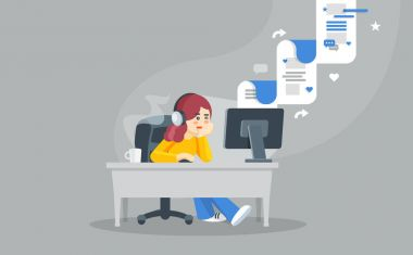 Internet surfing concept. Flat vector illustration. Girl sitting at a table behind a computer looking at the computer screen and watching social network.