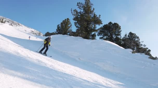 Young adult recreational skier enjoys idyllic perfect weather in cold winter. Skiing alone on perfectly groomed ski piste at ski resort