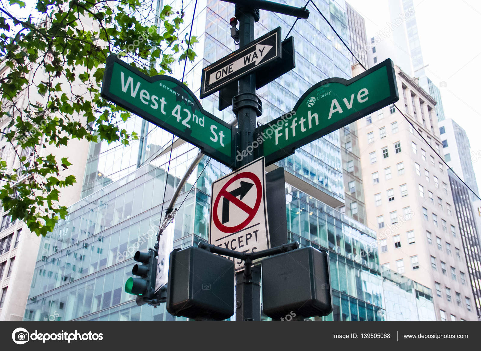 West 42nd Street, Fifth Ave, One way, No turn signs and ...