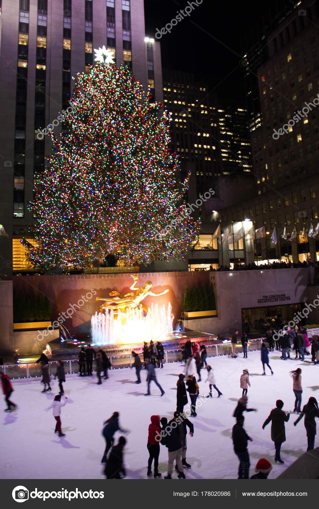 Christmas Ice Skating Rink Decoration.Manhattan New York December 2017 People Ice Skating Rink