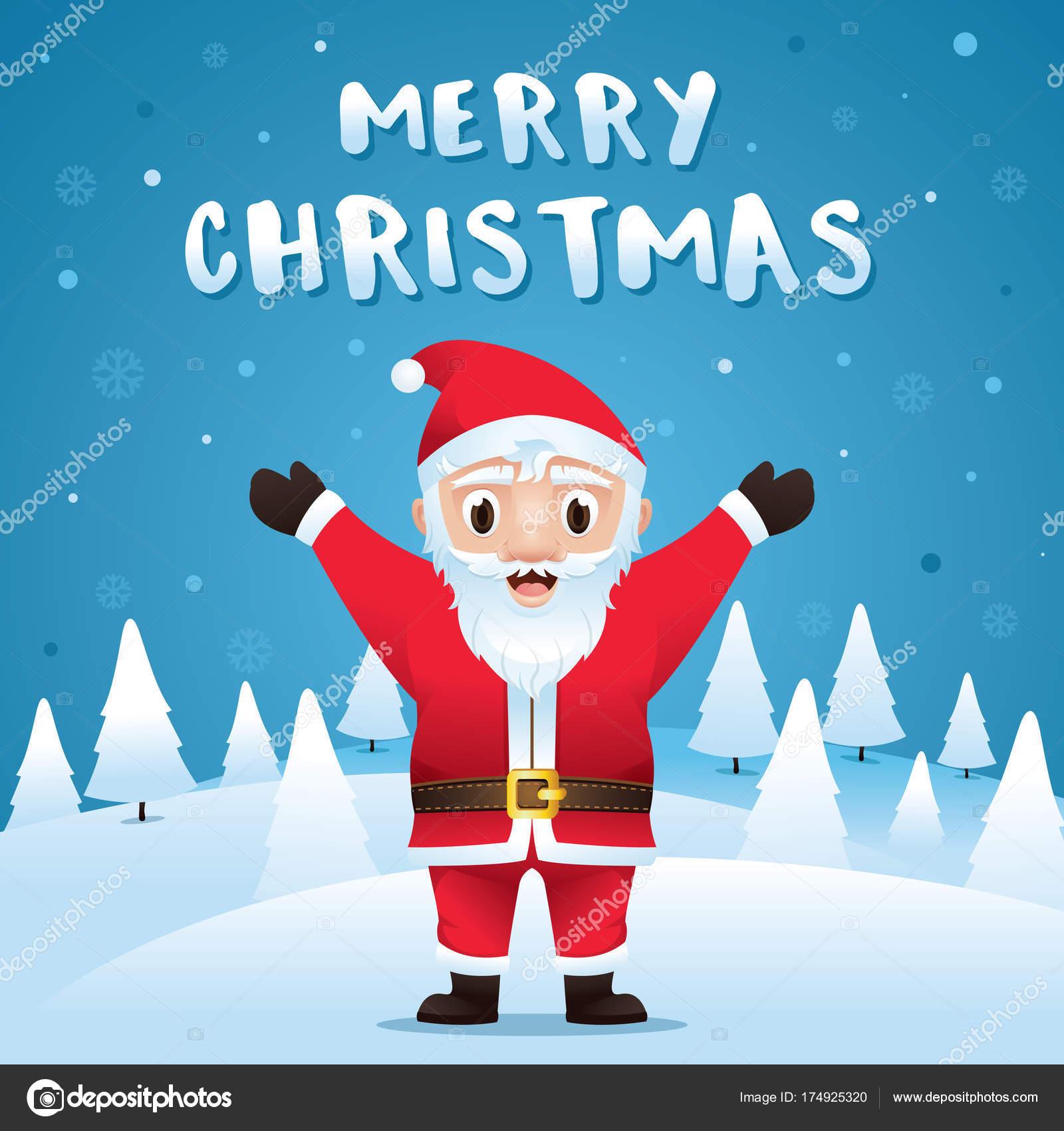 Frohe Weihnachten Weihnachtsmann Schnee Weihnachtsszene Weihnachten ...