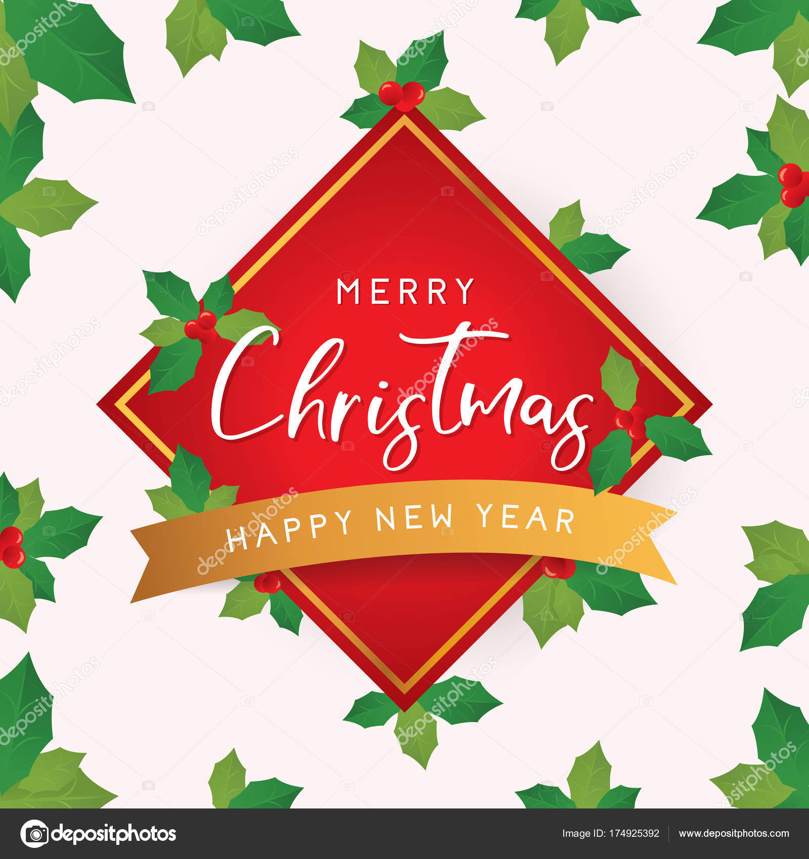 christmas and new year card with leaves merry christmas greeting template vector illustration vector by irfanfirdaus19yahoocom