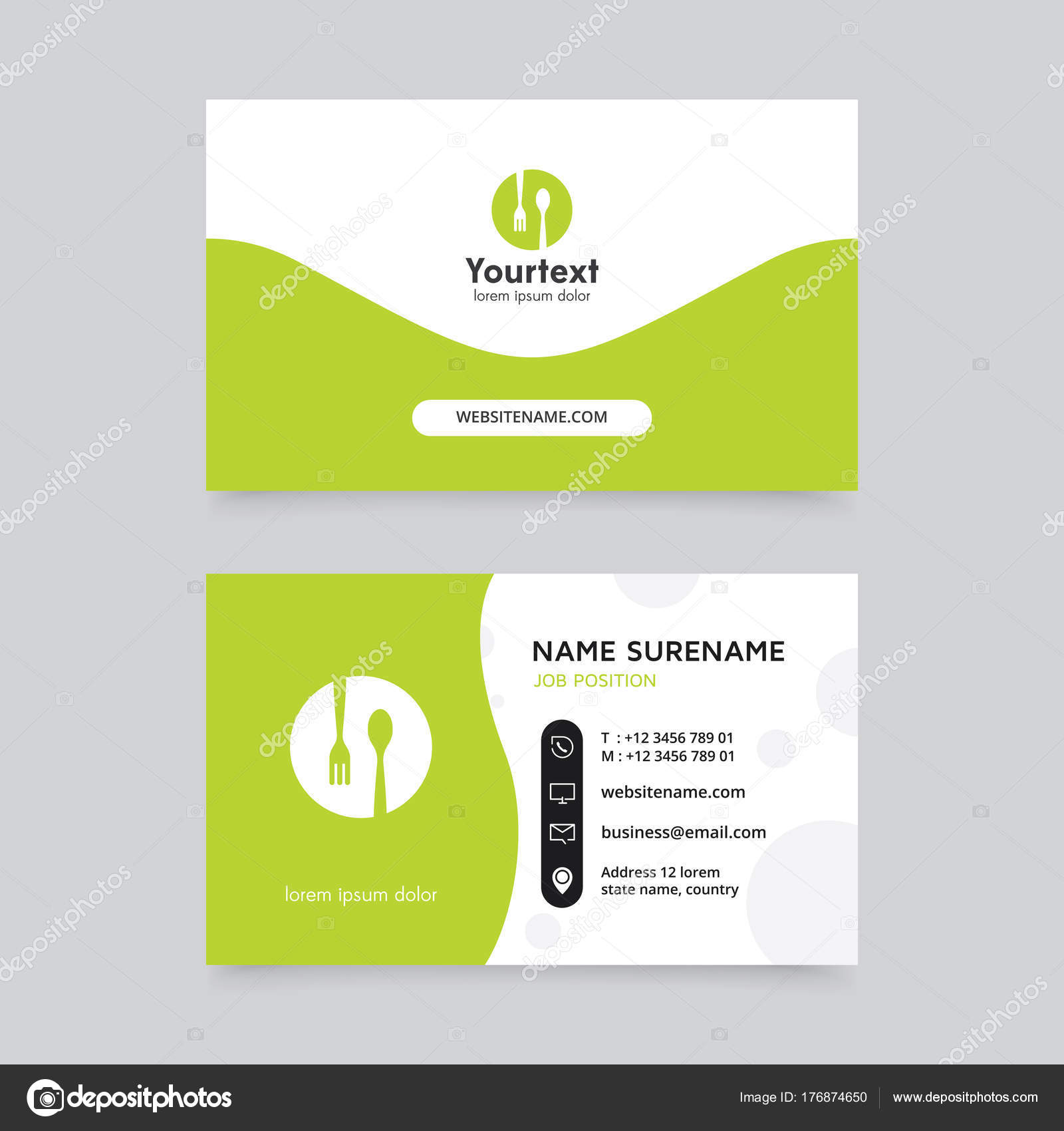 Vector modern creative clean business card template flat design vector modern creative and clean business card template flat design green color and food symbol logo business card vector template vector by reheart Gallery