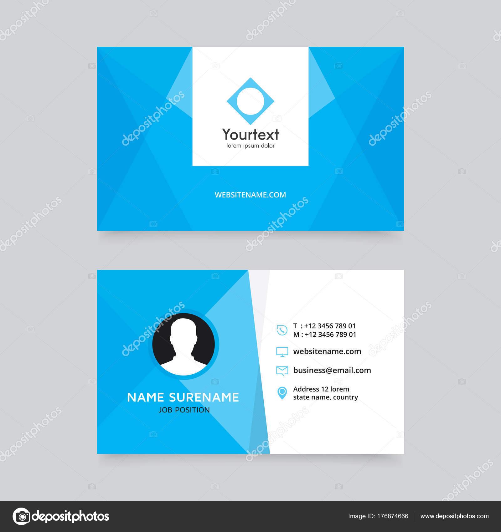 Conception De Carte Visite Propre Bleu Elegant Modele Moderne Creative Et Vecteur Design Plat Avec La Couleur Bleue
