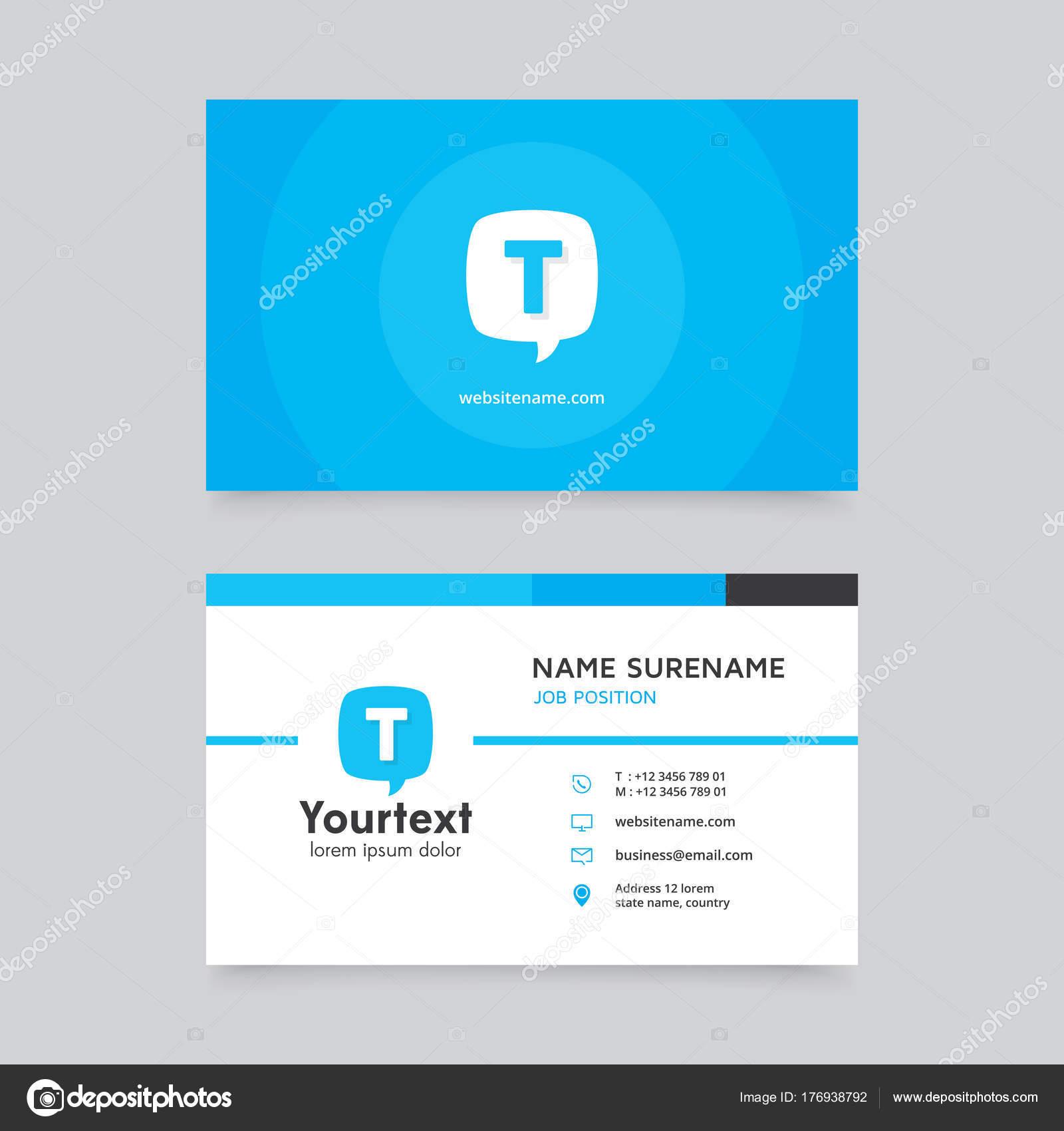 Bleu Carte De Visite Bulle Discours Modle Moderne Crative Et Propre Vecteur Design Plat Avec La Couleur Bleue Blanche