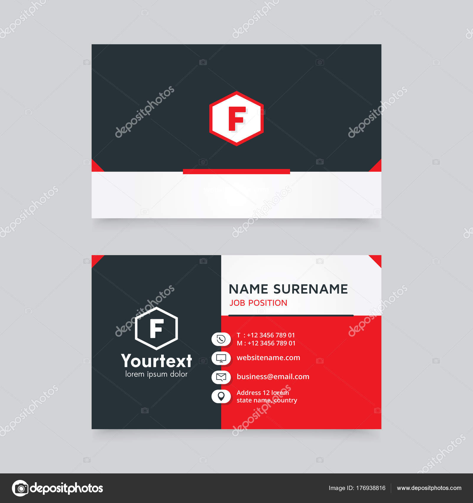 Vector Modern Creative Clean Business Card Template Flat Design Red ...