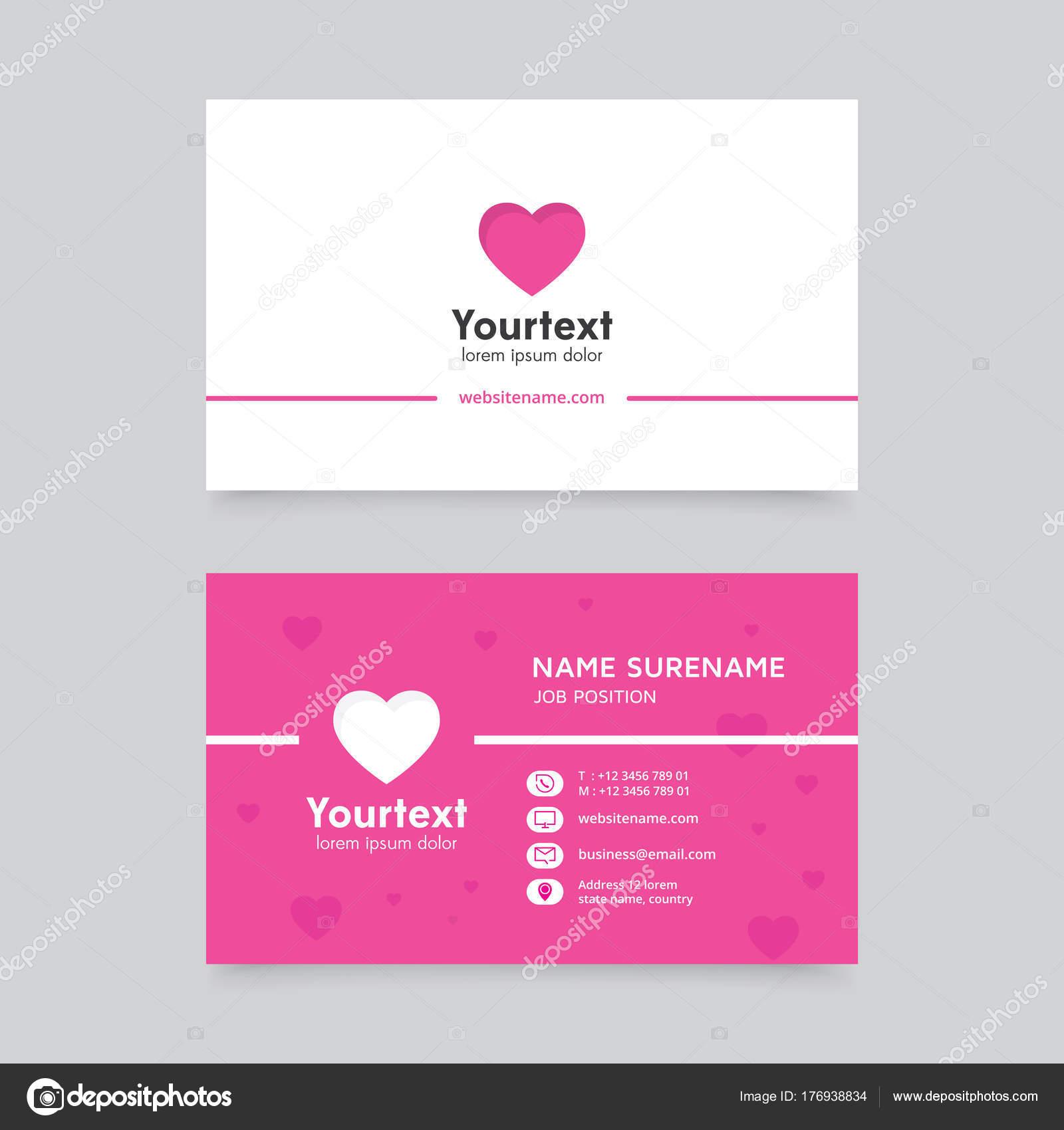Modele De Carte Visite Avec Le Symbole Latre Moderne Creative Et Propre Vecteur Design Plat La Couleur Rose