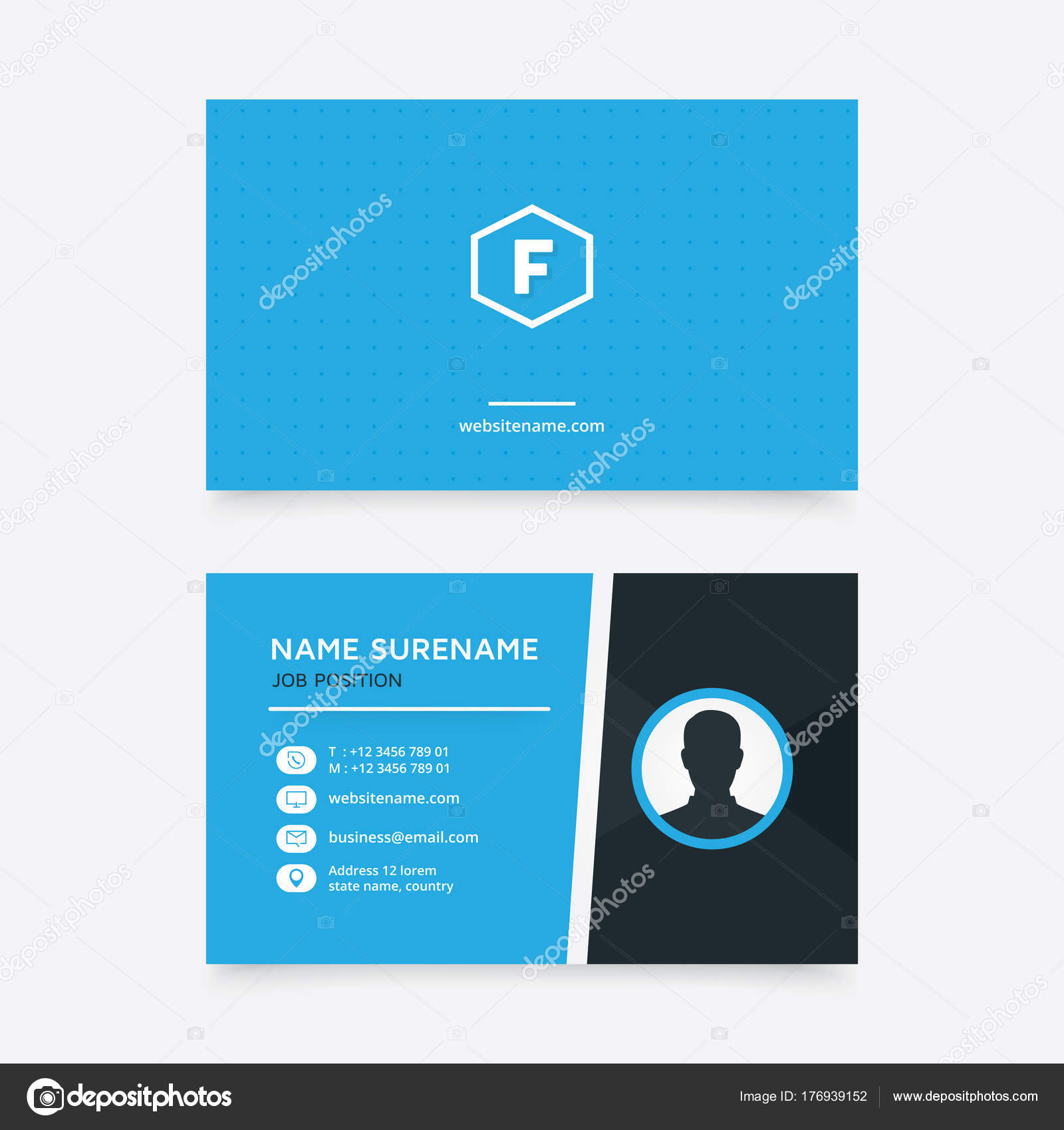 Vector modern creative simple business card template flat design vector modern creative simple business card template flat design blue stock vector fbccfo Choice Image