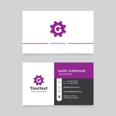 Vector modern creative and clean business card template, flat design with purple and white color, business card vector template