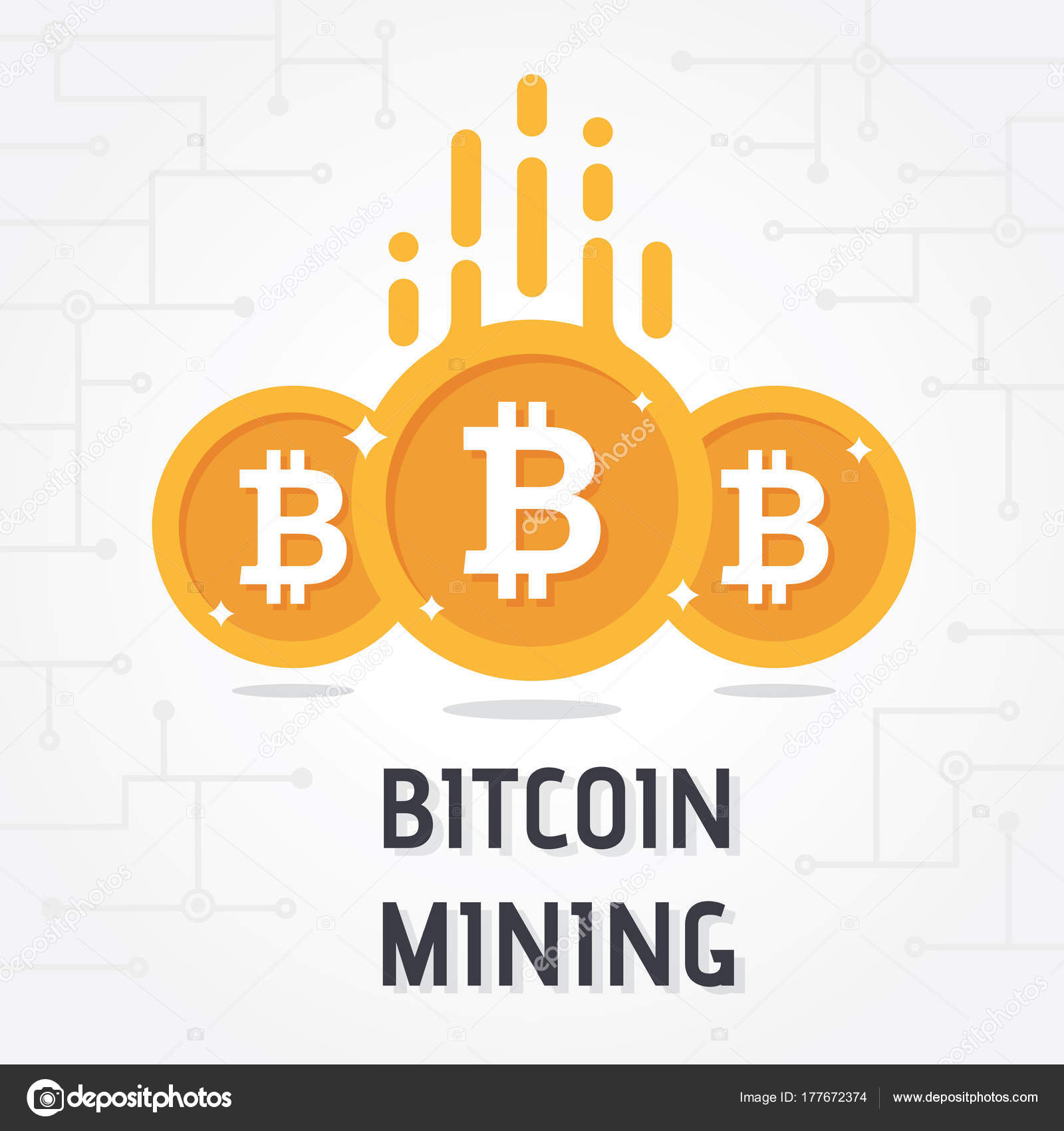 Golden Bitcoin Digital Currency White Background Bitcoin Mining -