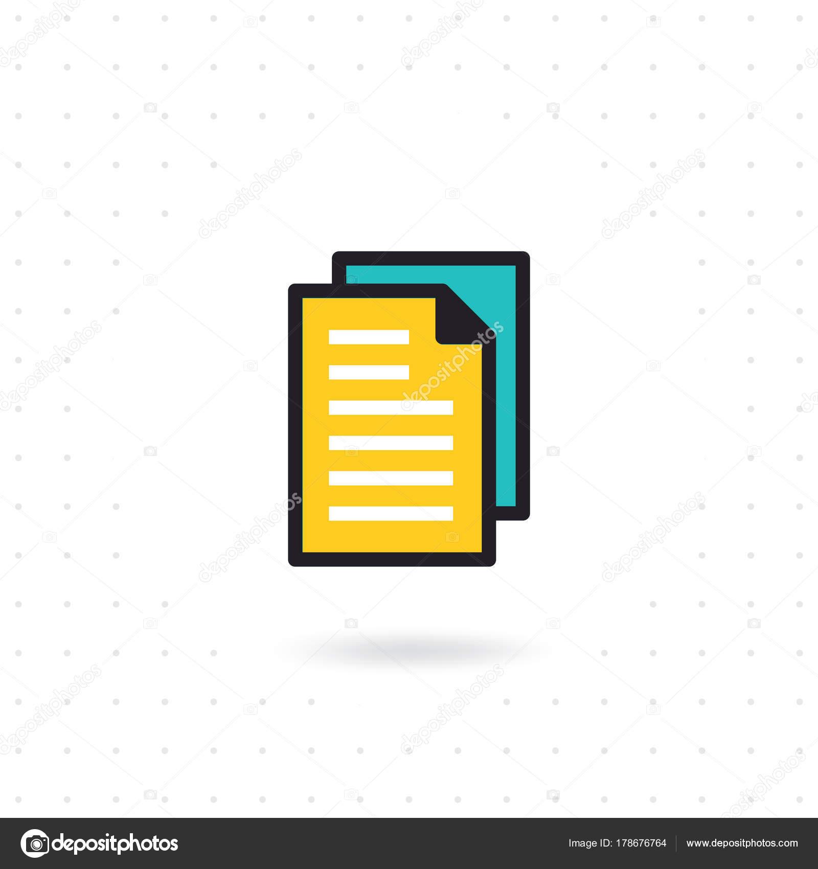 File Icon Modern Flat Line Document Icon Paper Vector Symbol Stock