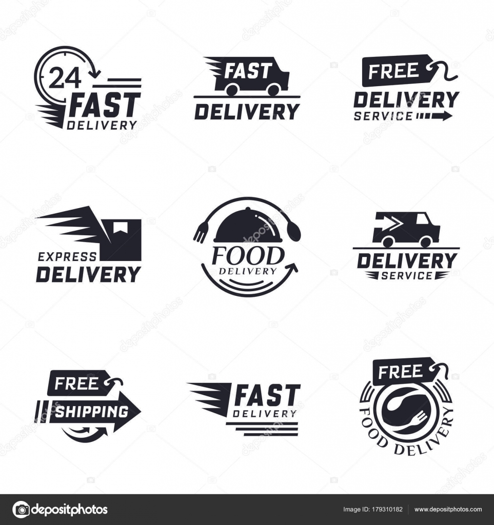 Set Delivery Labels Online Shopping Worldwide Shipping Signs