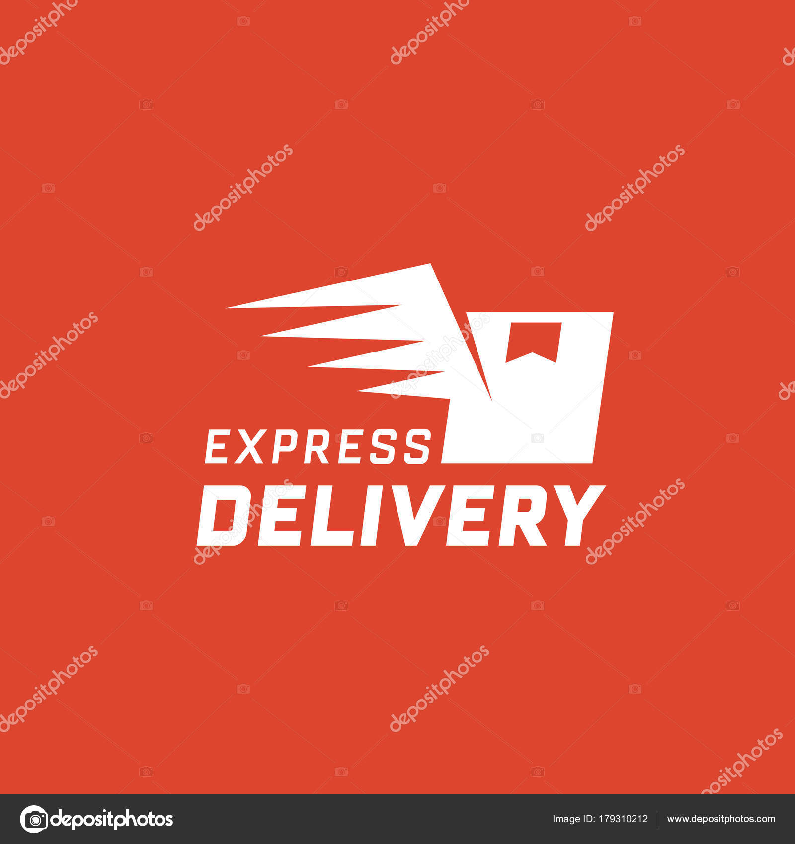 express delivery red background delivery label online shopping
