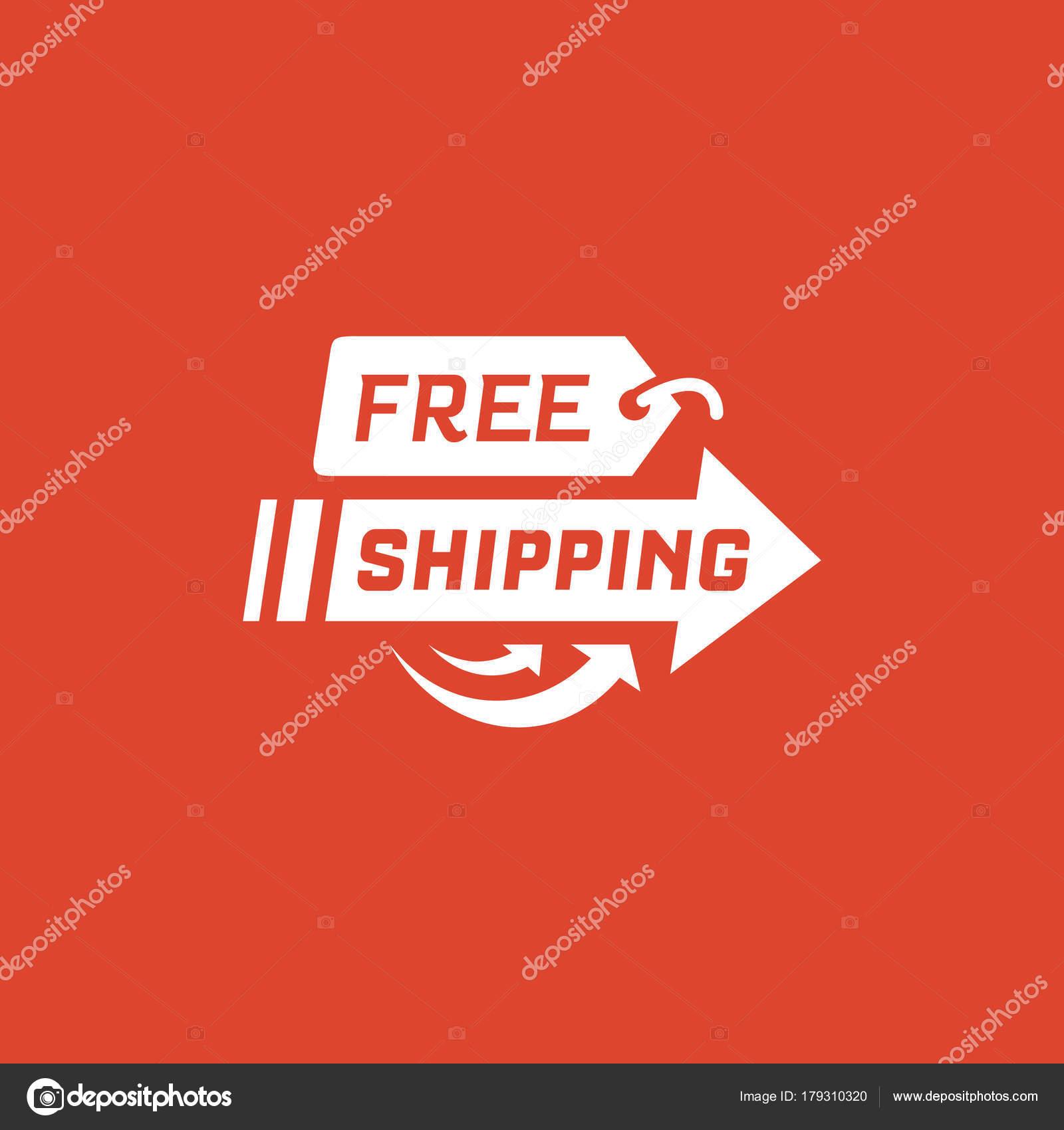 1a24414f0e Spedizione gratuita su sfondo rosso. Etichetta di consegna per lo shopping  online. Spedizione in tutto il mondo. Illustrazione di vettore — Vettoriali  di ...