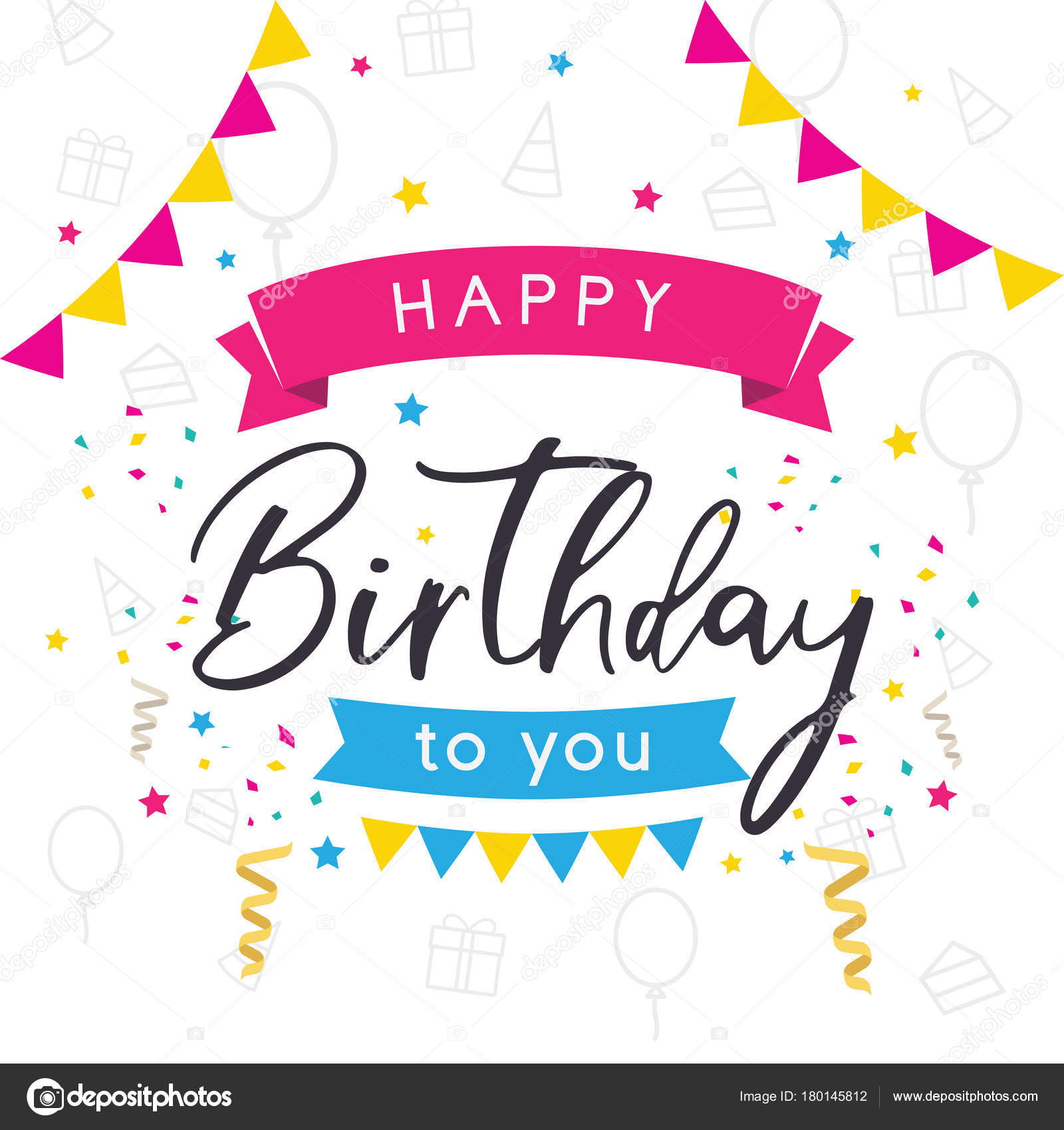 vector colorful greeting card happy birthday birthday card happy rh depositphotos com birthday card vector ai birthday vector card