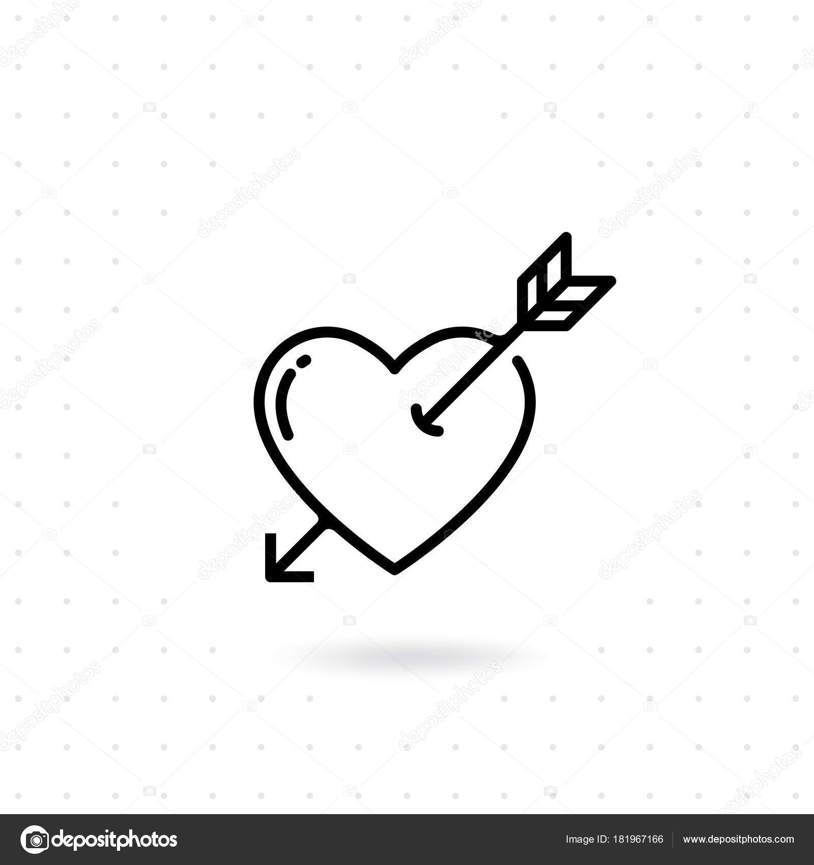 Heart Arrow Icon Valentines Day Vector Line Icon Cupid Dart Stock