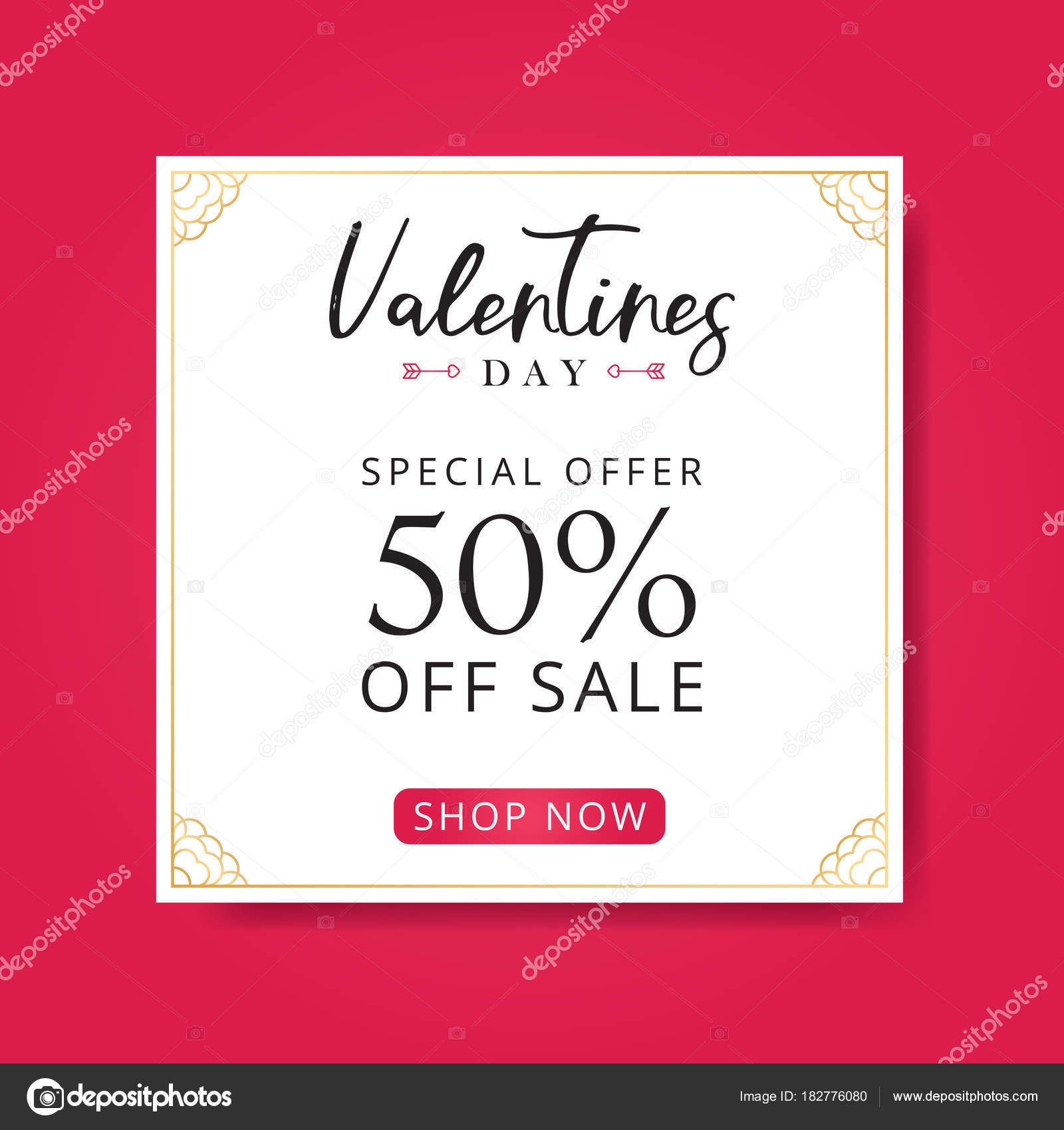 Valentines Day Sale Background Flyer Template Decorative Hearts