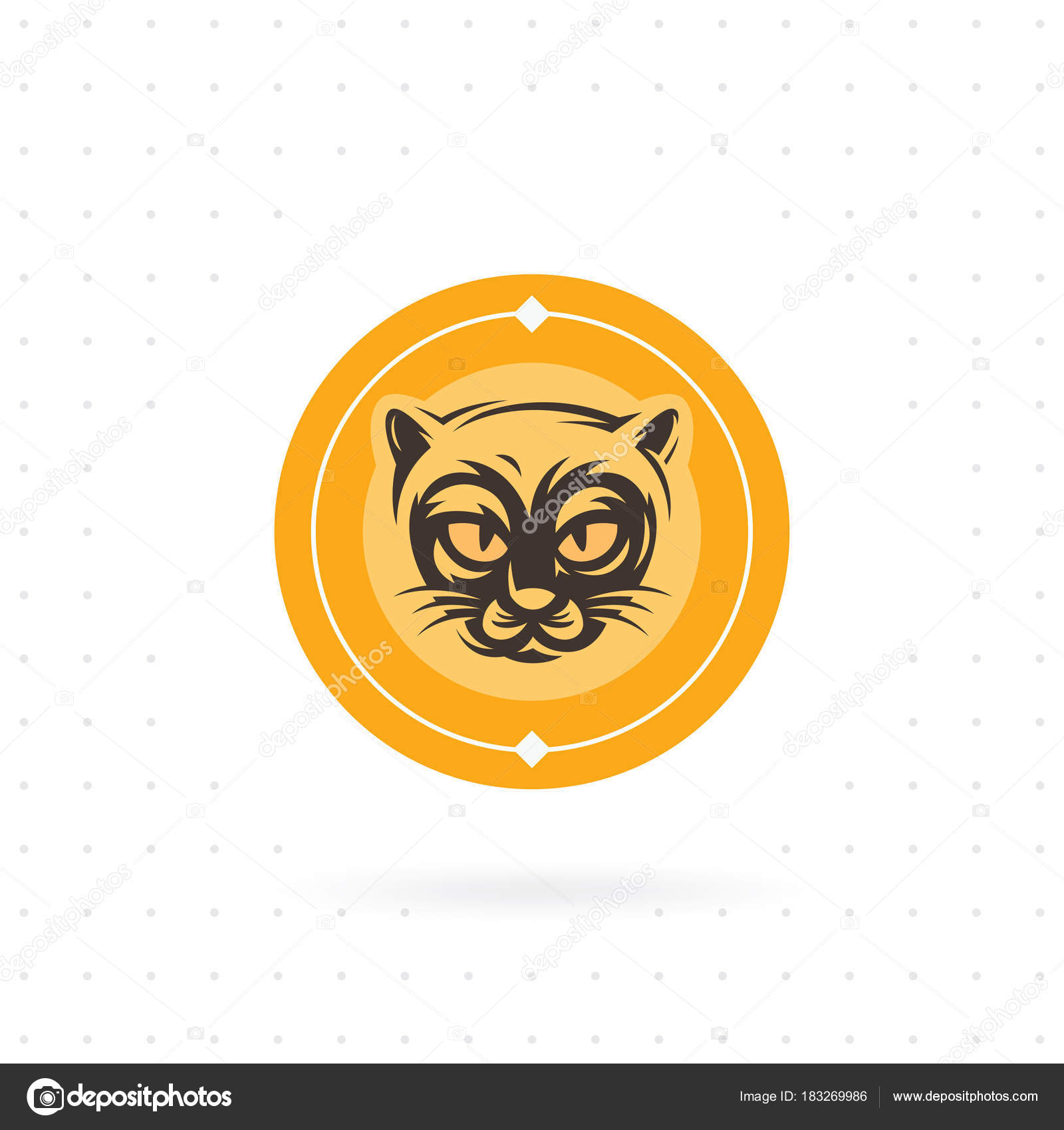 cat icon circle icon label vector template cat face logo stock