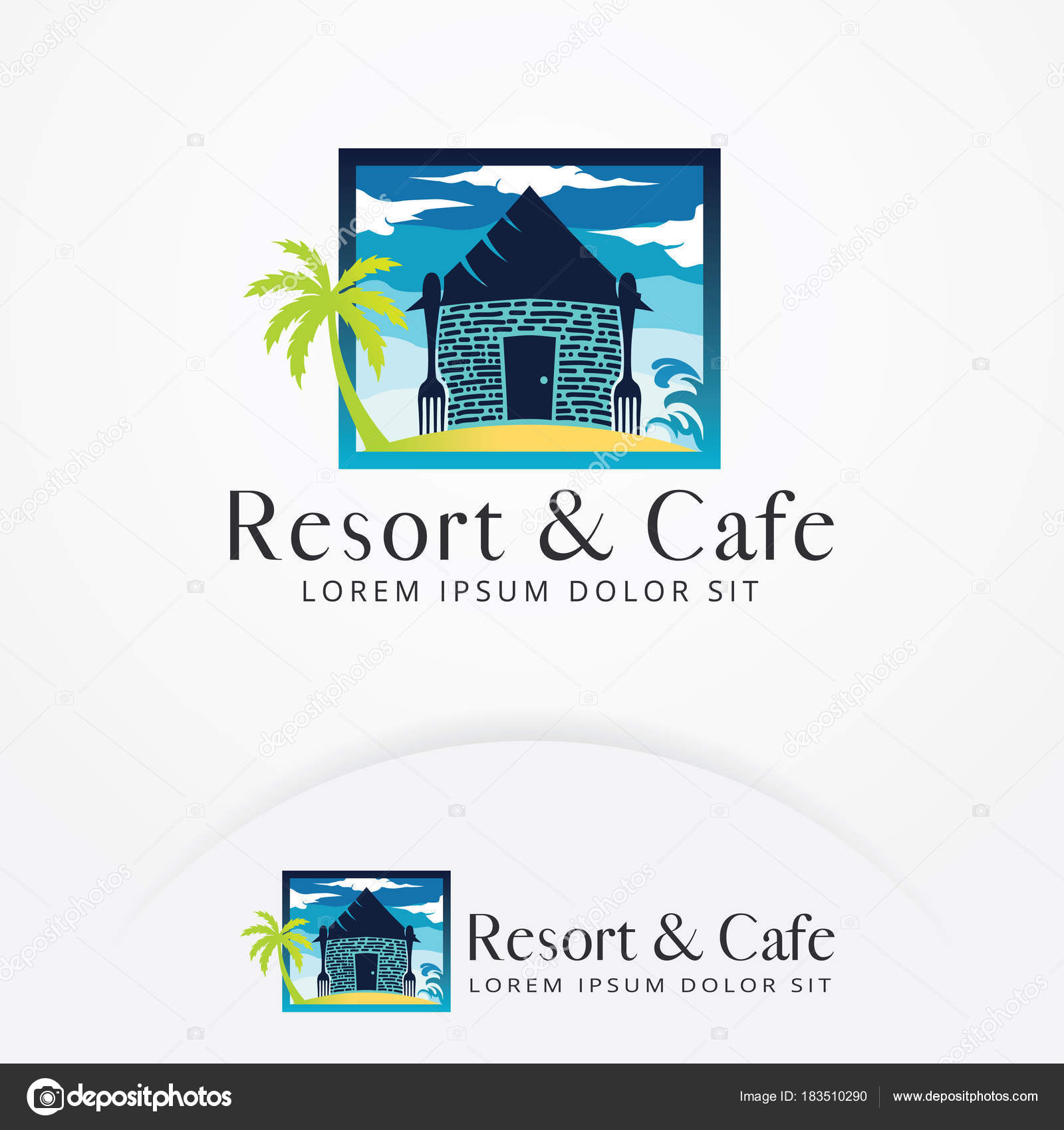 Beach Resort Logo Design Cafe Restaurant Icon Emblem Logo Vector Stock Vector C Irfanfirdaus19 Yahoo Com 183510290