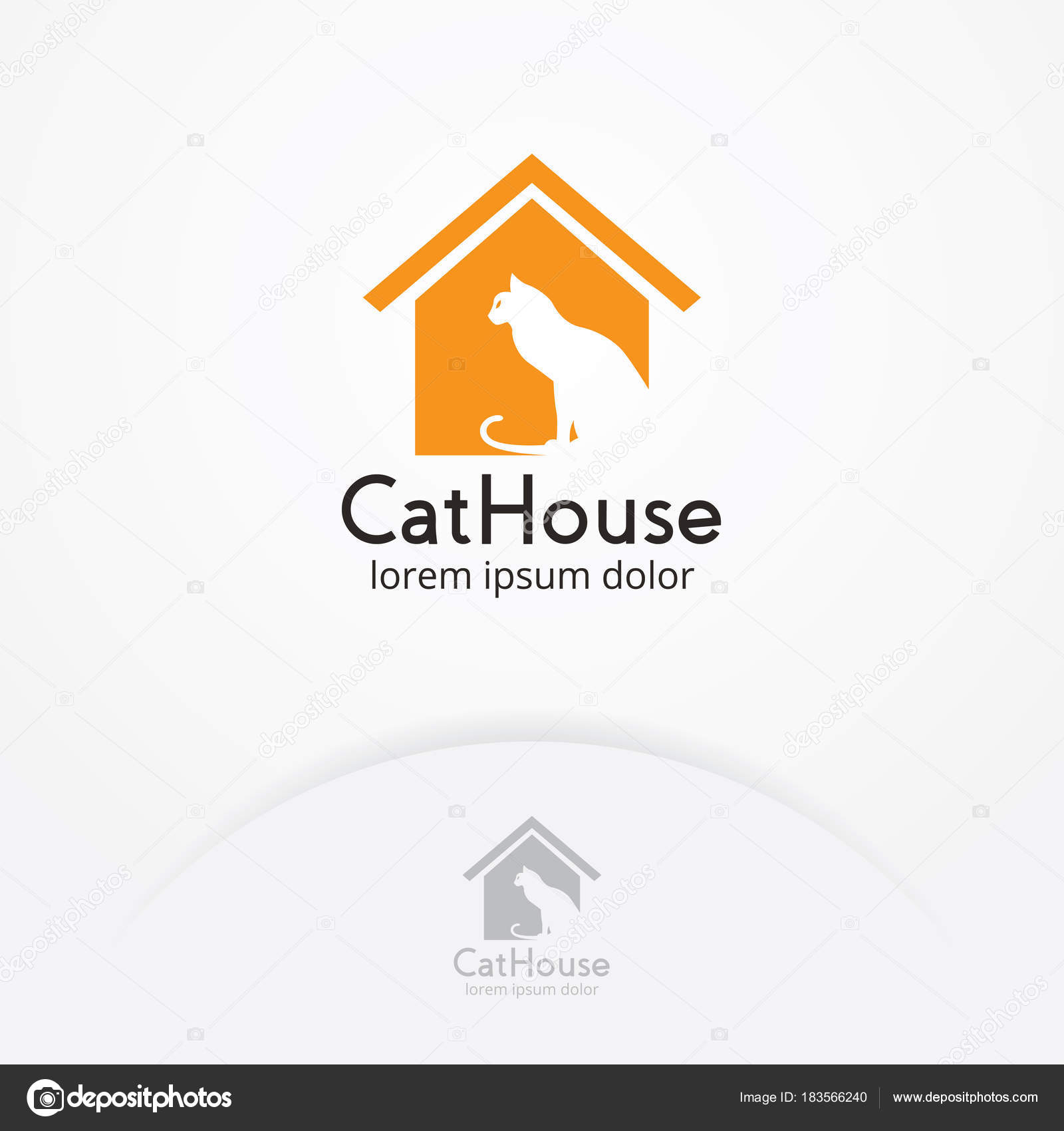 Cat Home Logo Design Illustration Silhouette Cat House Pet Shop ...