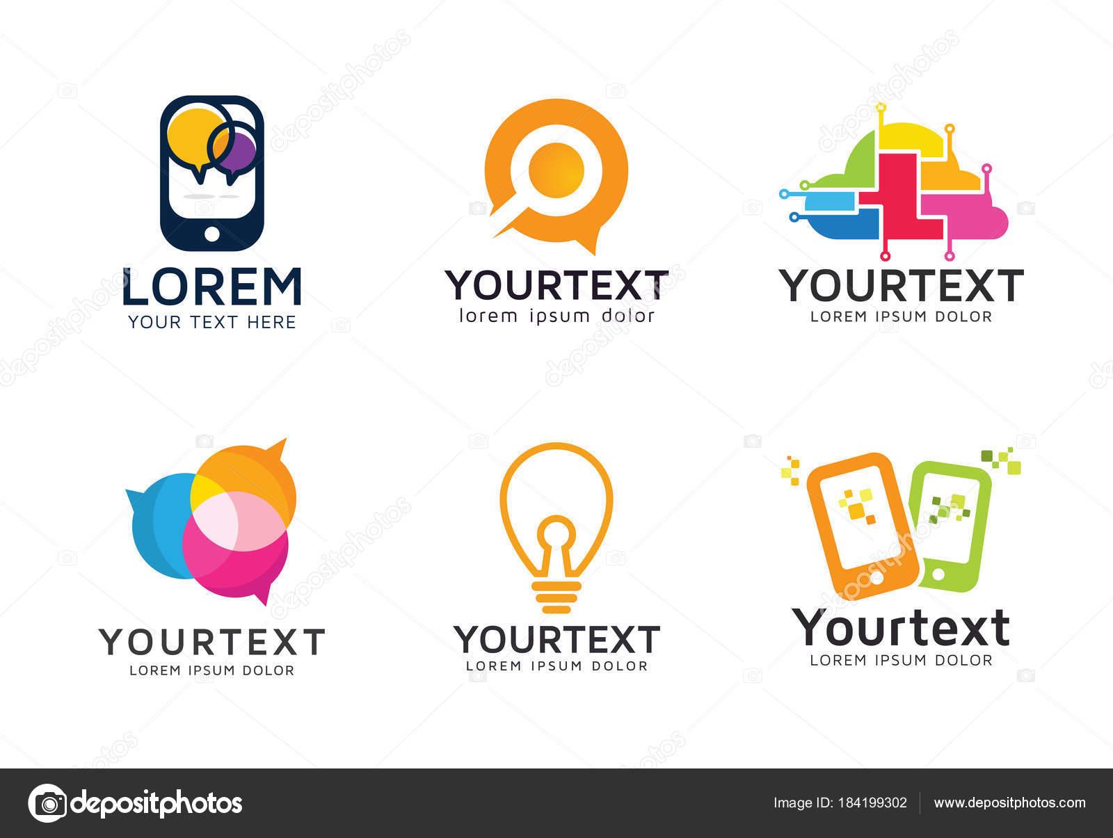 Conjunto Logotipos Tecnología Moderna Colección Logos Comunicación ...